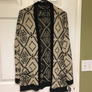 Open Front Printed Sweater